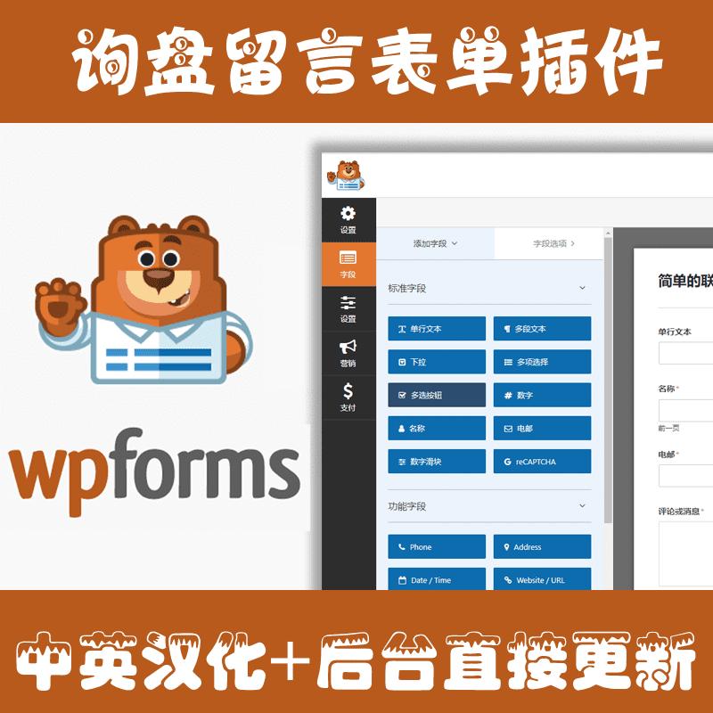 WPForms Pro16.0.2wordpress可视化拖拽式网站留言询盘表单插件